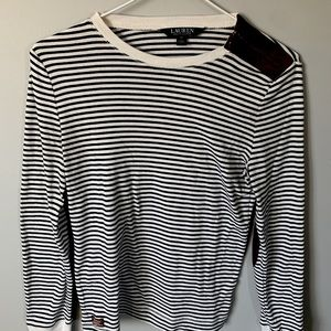 💝Lauren B&W Striped Patched Elbows Long (medium)